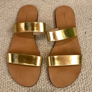J Crew Gold Two Strap Flat Sandals